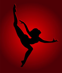 Flexible dancing girl in red light