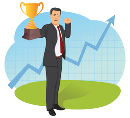 Businessman holding trophy on a background of the upward chart