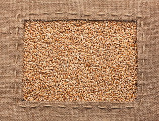 Frame made of burlap with wheat
