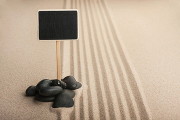 Pointer board standing  in the stones on the sand