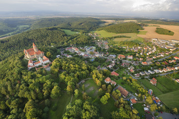 Aerial view of gothic castle Bouzov