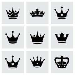 Vector black crown icons set