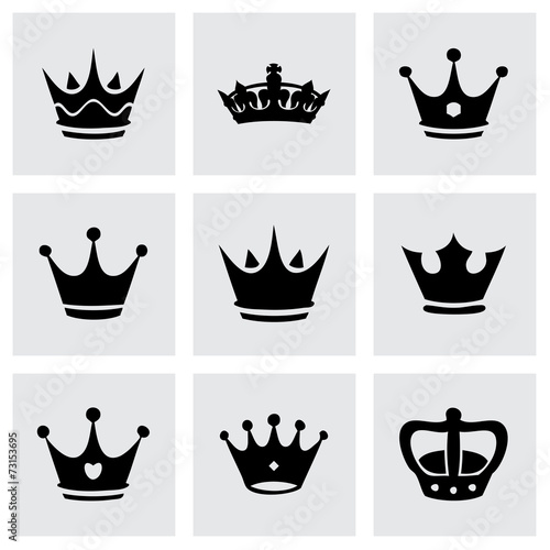 Vector black crown icons set - 73153695