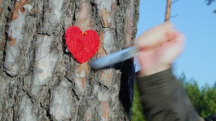 Hand with knife near fabric heart on the tree