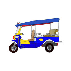 Illustration of tuk tuk, 3 wheels taxi in Bangkok Thailand