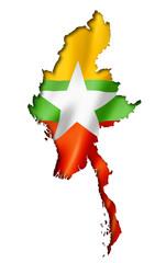 Burma Myanmar flag map