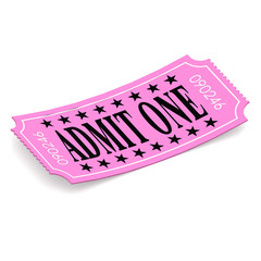 Admit one pink ticket on white background