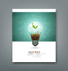 Cover annual report green seedlings in light bulb ecology