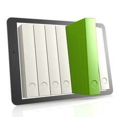 Green book and tablet