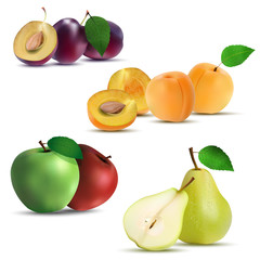 Set of fruits - plum, apricot, apple and pear