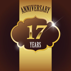 17 Years Anniversary, Golden Design Template /Background / Seal