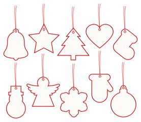 Set 10 Christmas Hangtags Red