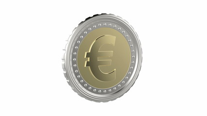 Euro coin spin on white background