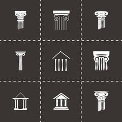Vector black coloumn icons set