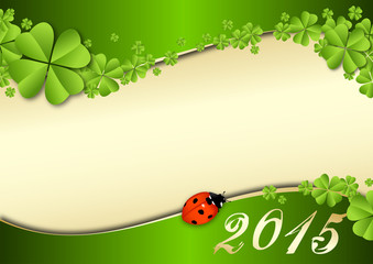 2015 vector template with clover and a lady beetle