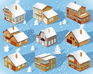 City houses in perspective (Winter)