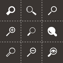 Vector black magnifying glass icons set