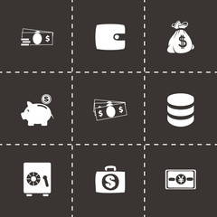 Vector black money icons set