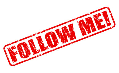 Follow me red stamp text