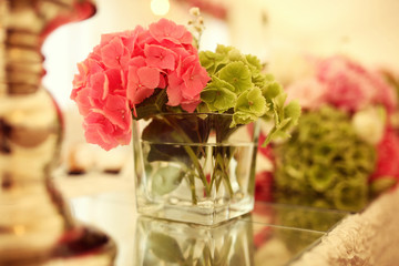 Beautifully decorated wedding table