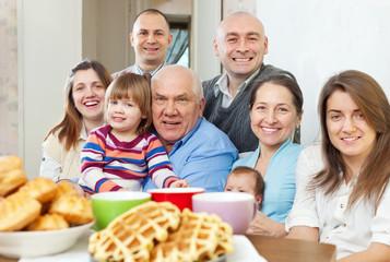 Portrait of large happy three generations family