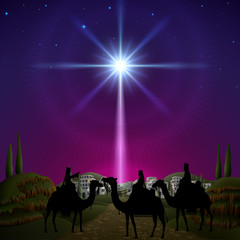 Three wise men in Bethlehem