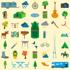 Set camping icon, hiking, outdoors