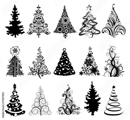 Set of Luxury Christmas Trees. - 73157855