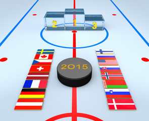 Flags, hockey puck and ice winners podium