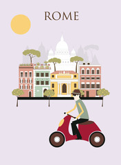 Woman in Rome. Vector