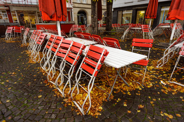 Red cafe in Cologne, Germany