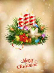Beautiful golden Christmas background. EPS 10