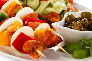 Barbecued meat and vegetables
