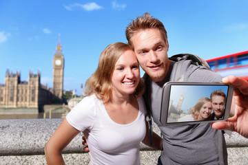 happy couple selfie in london