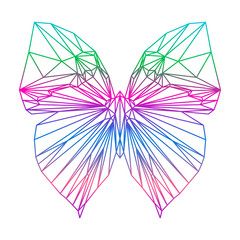 polygonal abstract vector gradient colored butterfly silhouette