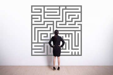 business woman look maze