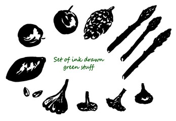 Set of silhouettes of ink drawn green stuff