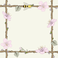 twig frame with flowers and bee