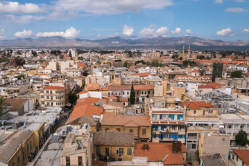 View over central Nicosia towards the north and Selimiye Mosque
