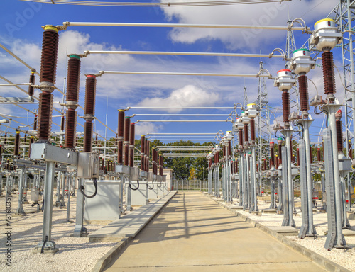High voltage switchyard in electrical substation - 73161035