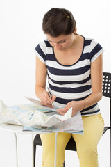 Organized woman planning a journey