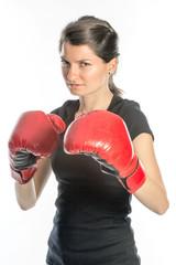 Tough woman boxing