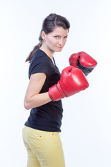 Boxer woman posing