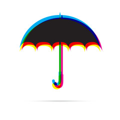 Umbrella icon with shadow. CMYK offset effect.