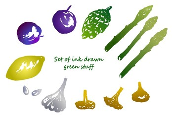 Set of colored silhouettes of ink drawn green stuff