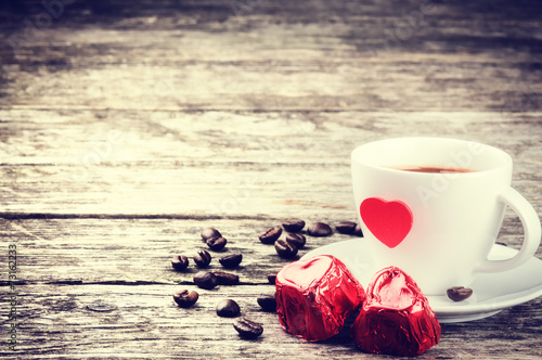 Papiers peints Salle de cafe St Valentine's breakfast with coffee and chocolate