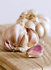 Two garlic bulbs and clove