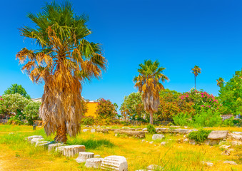 general view of ancient Agora in Kos island in Greece
