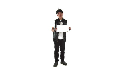 model isolated on white upset with blank sign