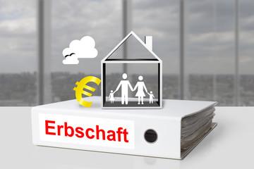 Weißer Aktenordner Erbschaft Familie Haus Euro Symbol